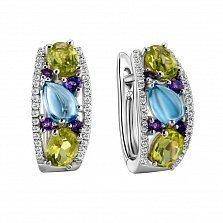 Серьги в белом золоте Тереза с голубым топазом, аметистом и бриллиантами