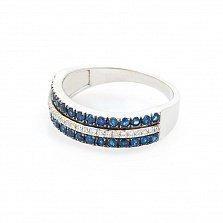 Кольцо из белого золота Таиса с сапфирами и бриллиантами