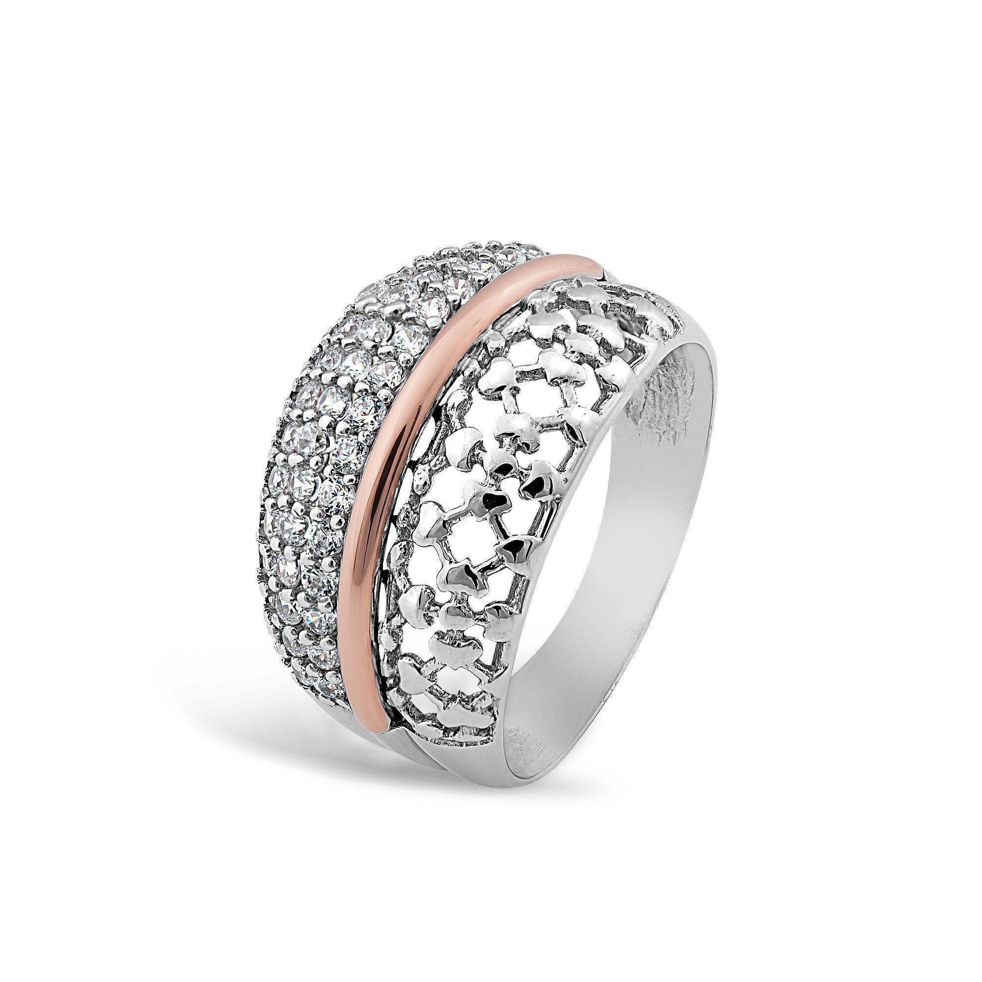 Серебряное кольцо Влада с золотой накладкой и фианитами