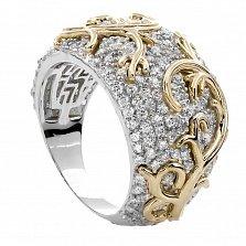 Серебряное кольцо с золотой вставкой и фианитами Эмили