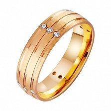 Золотое обручальное кольцо Исполнение желания с фианитами