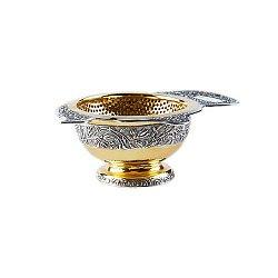 Серебряное ситечко для чая Чайник с позолотой