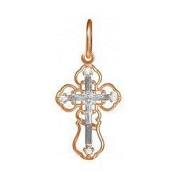 Серебряный крестик Образ Бога с позолотой и фианитами 000028658
