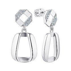 Серебряные серьги-подвески с фианитами 000149745