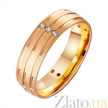 Золотое обручальное кольцо Исполнение желания с фианитами TRF--4121308