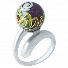 Серебряное кольцо Вальс цветов с эмалью