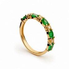 Золотое кольцо Фелисидад с изумрудами и бриллиантами