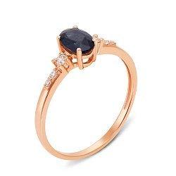 Кольцо из красного золота с сапфиром и бриллиантами 000131365