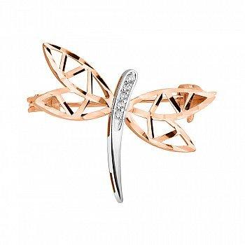 Золота брошка у комбінованому кольорі з фіанітами та алмазною гранню 000124485
