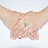 Серебряное кольцо с зеленым агатом Луиджи
