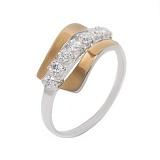 Серебряное кольцо с золотой вставкой и цирконием Миранда