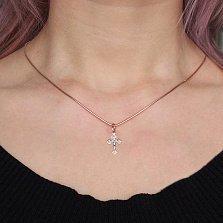 Золотой крестик Спаситель в комбинированном цвете с алмазной гранью