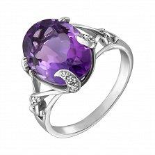 Серебряное кольцо Мериса с аметистом и фианитами