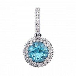 Кулон из серебра с голубым кварцем и фианитами 000012656