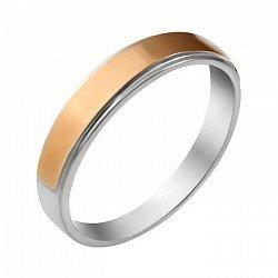 Серебряное обручальное кольцо с золотой накладкой 000115941