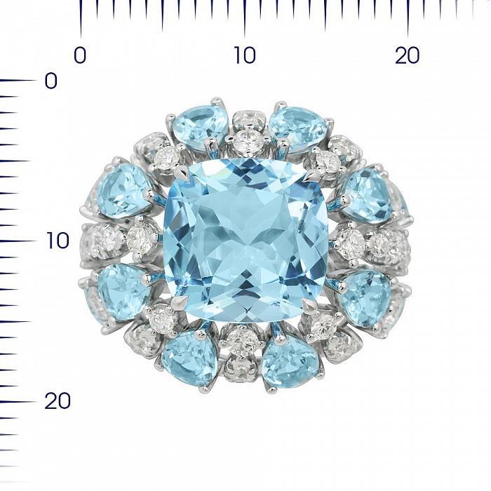Кольцо из белого золота Семирамида с бриллиантами и топазами 000081989