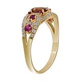 Кольцо из желтого золота Беата с сапфиром, турмалином и бриллиантами