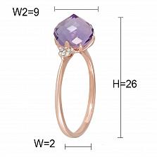 Кольцо из красного золота с аметистом и бриллиантами Ягодки