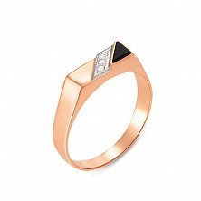 Золотой перстень-печатка Олимп с ониксом и фианитами