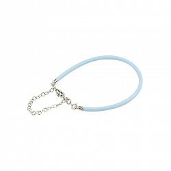 Голубой силиконовый браслет с серебром Ванильное небо
