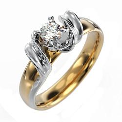 Золотое кольцо Афродита в комбинированном цвете с бриллиантом (комфортная шинка)