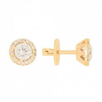 Золотые серьги-пуссеты с белыми кристаллами циркония 000096723
