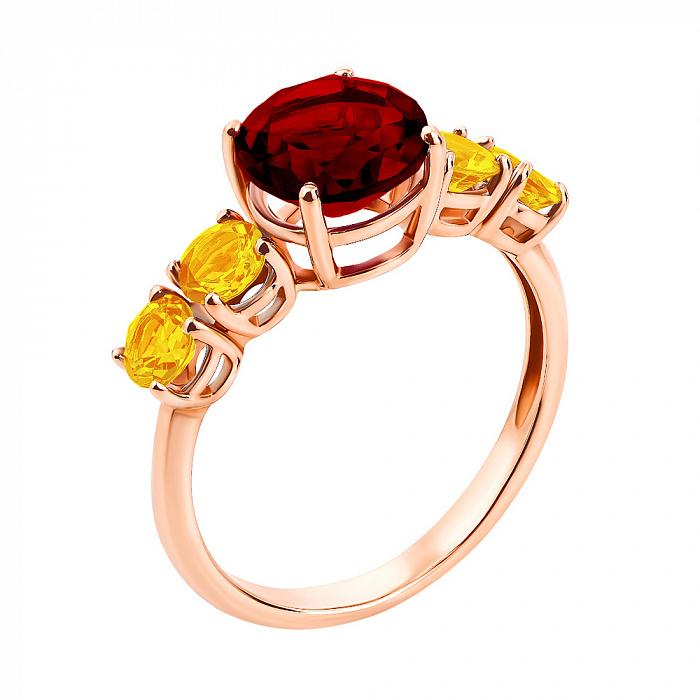 Кольцо в красном золоте Келли с гранатом и цитринами 000104194