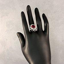 Серебряное кольцо Алый рассвет с узорами, корундом и фианитами
