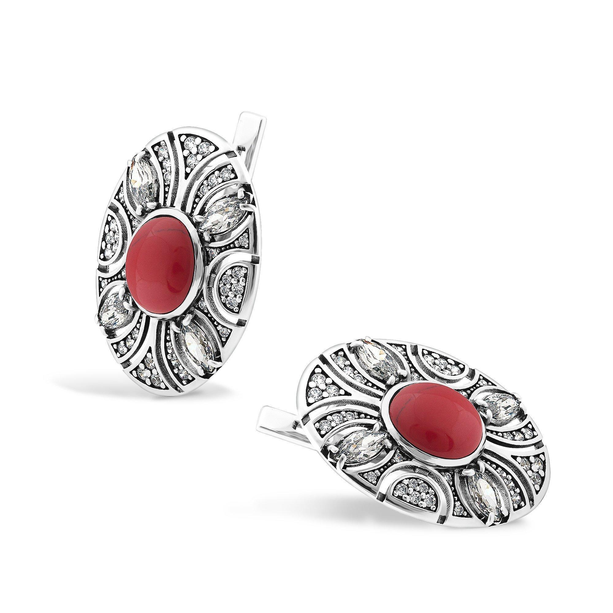 Серебряные серьги Карима с имитацией яшмы и фианитами