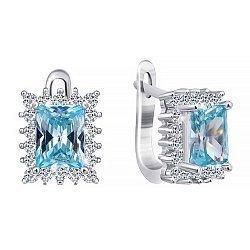 Серебряные серьги с голубыми фианитами 000024603