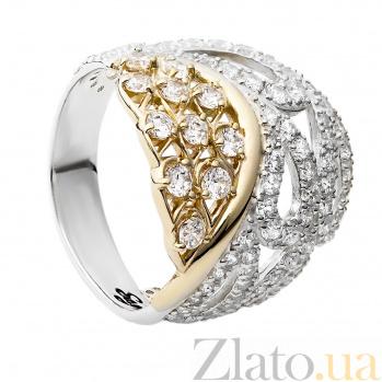 Серебряное кольцо с золотой вставкой и фианитами Фея 000030014