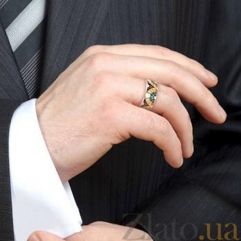 Мужское обручальное кольцо с эмалью Талисман: Счастья 3107