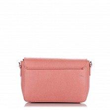Кожаный клатч Genuine Leather 1522 розового цвета с клапаном на магните