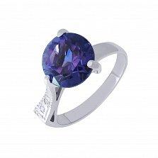 Серебряное кольцо Флор с синтезированным аметистом и фианитами