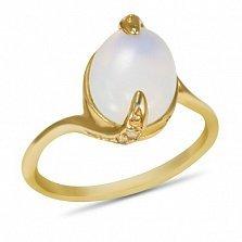 Золотое кольцо Хетевей в желтом цвете с узорным кастом и опалом