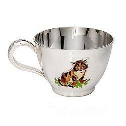 Серебряная чашка Тигренок с эмалью, 250мл 000043530