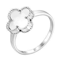 Кольцо из белого золота Клевер с белой эмалью 000140542