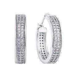Серебряные серьги-конго с дорожками фианитов, 20мм 000118064