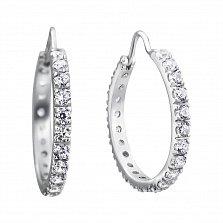 Серебряные серьги-конго Джанелл с фианитами