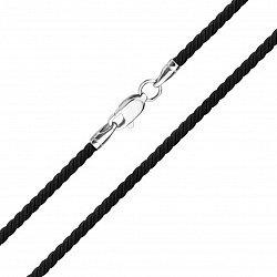 Шелковый шнурок черного цвета c серебряной застежкой 000102873