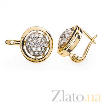 Серьги  из желтого золота Колесо фортуны с бриллиантами E 0310