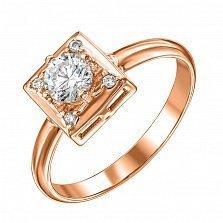 Кольцо из красного золота с фианитами 000135148