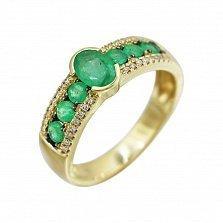 Кольцо из желтого золота Аделаида с изумрудами и бриллиантами