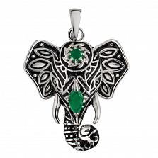 Серебряный подвес Узорный слон с черной эмалью и зеленым цирконием