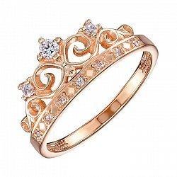 Кольцо-корона из красного золота с фианитами 000117717