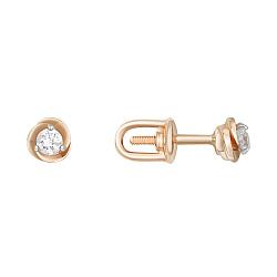 Золотые пуссеты Инесса с бриллиантами