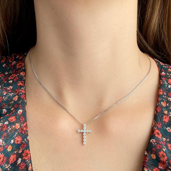 Крестик из белого золота с бриллиантами 000142369 000142369