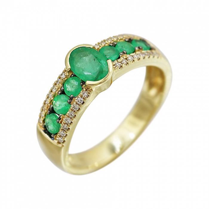 Кольцо из желтого золота Аделаида с изумрудами и бриллиантами 000080948