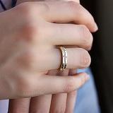 Обручальное кольцо в желтом золоте Гортензия с фианитами