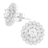 Серебряные пуссеты Астра с кристаллами циркония